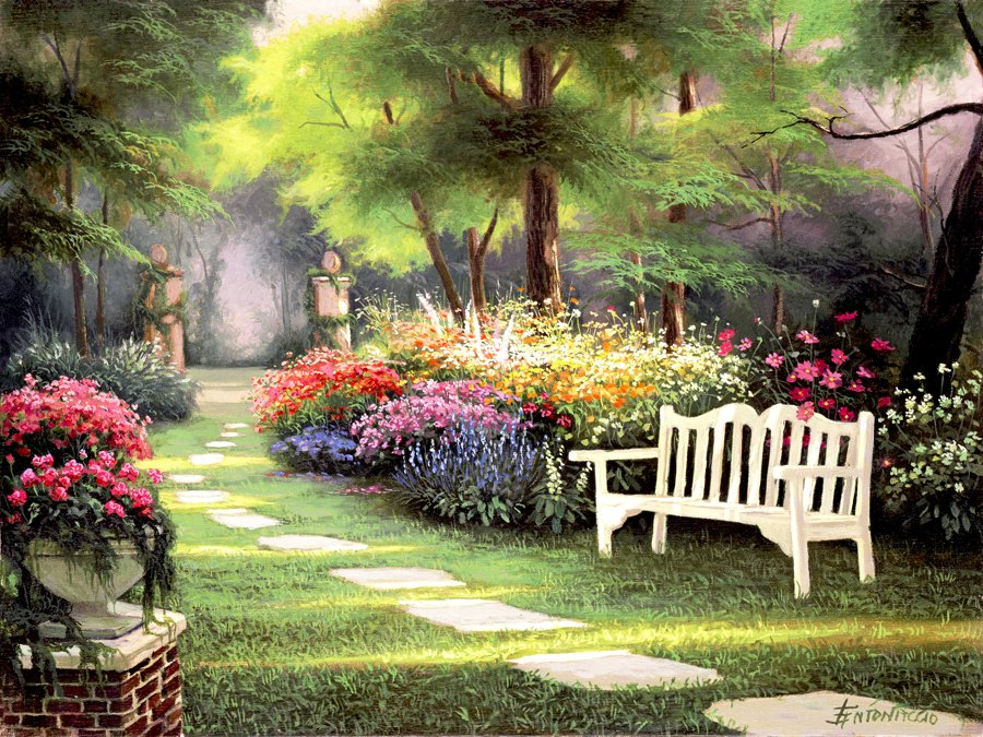 Flower landscapes by egidio antonaccio art blog markovart for Garden painting images